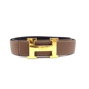 52ad795a108ef Grey On Black 32mm Gold H Reversible Size 90 Belt